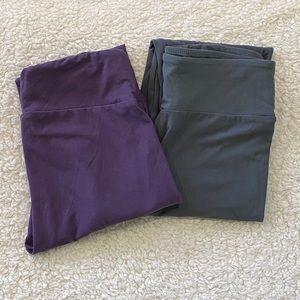 LULAROE OS *2 Pairs* Purple Gray Solid Leggings